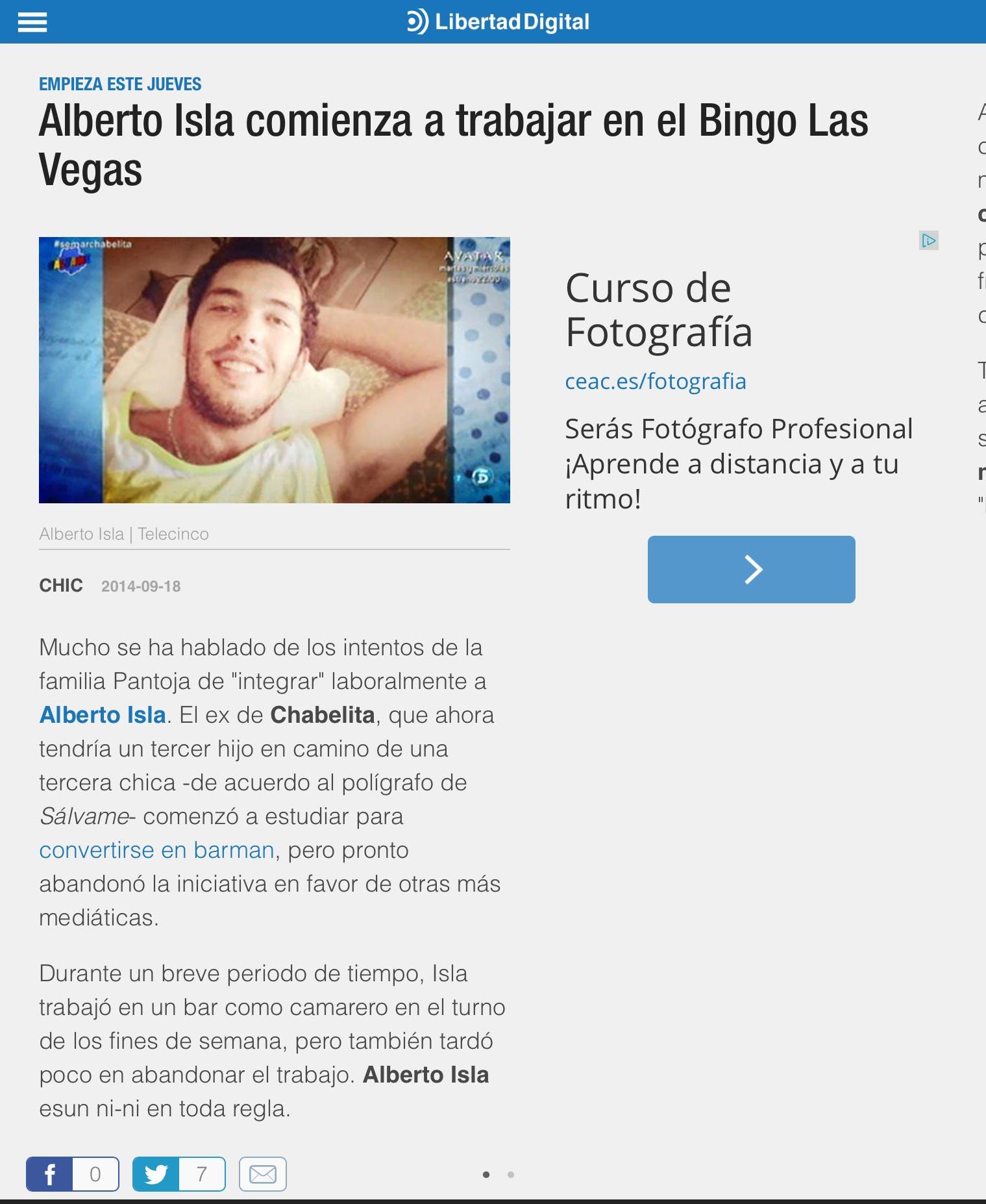 Alberto Isla comienza a trabajar en el Bingo Las Vegas
