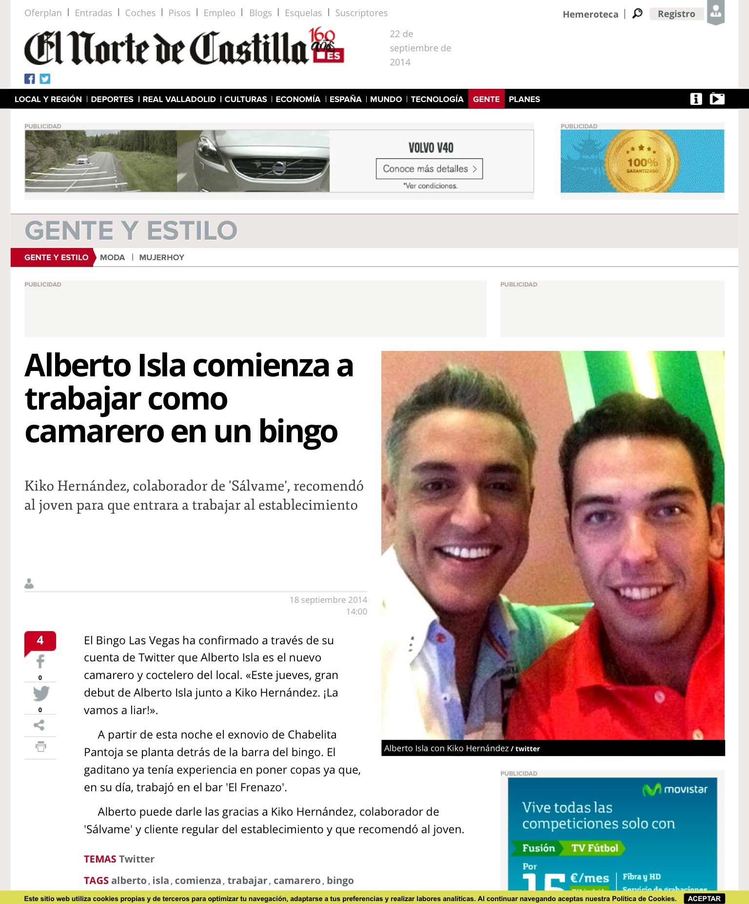 Alberto Isla comienza a trabajar ocmo camarero en un bingo