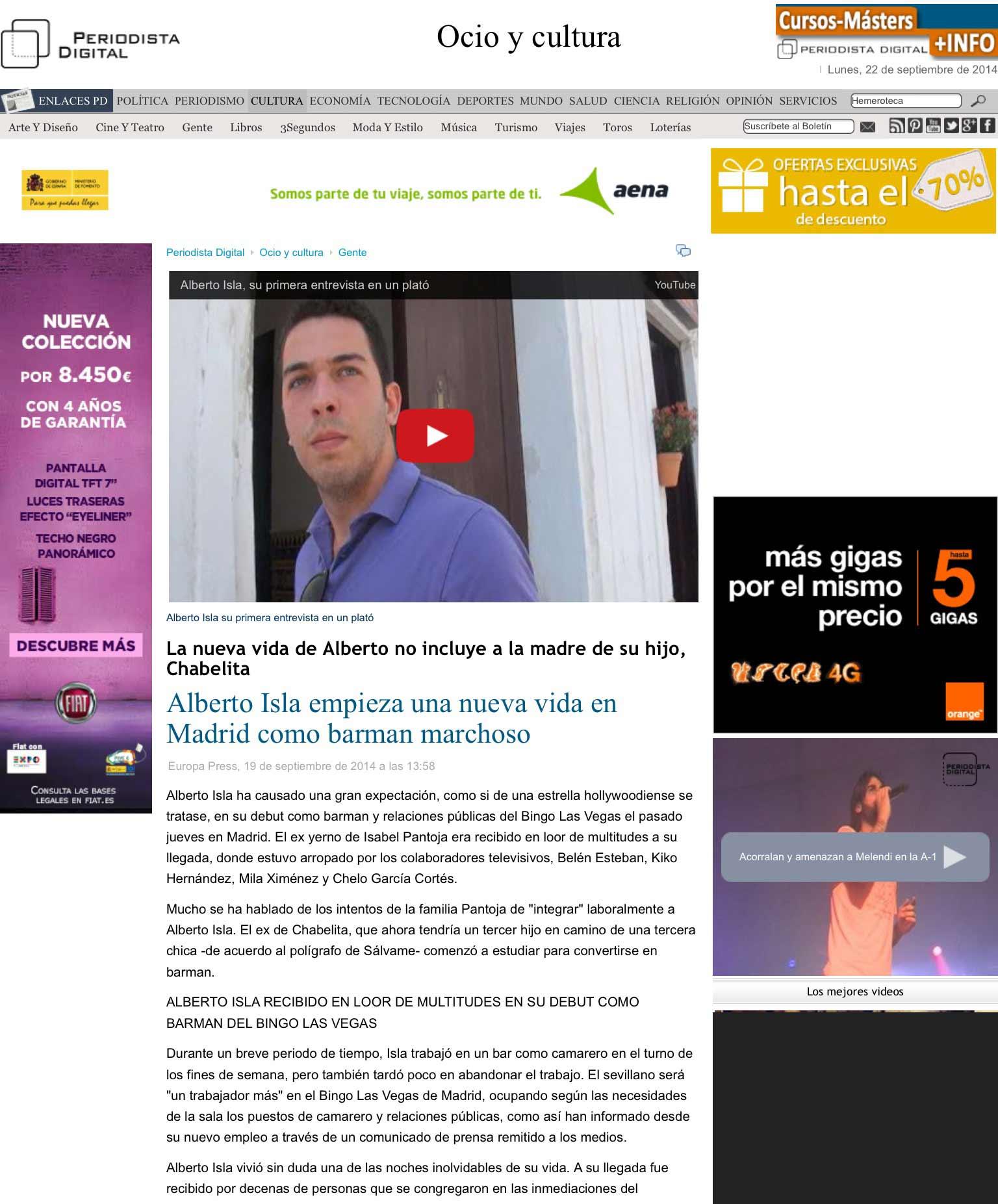 Alberto Isla empieza una nueva vida en Madrid como barman marchoso