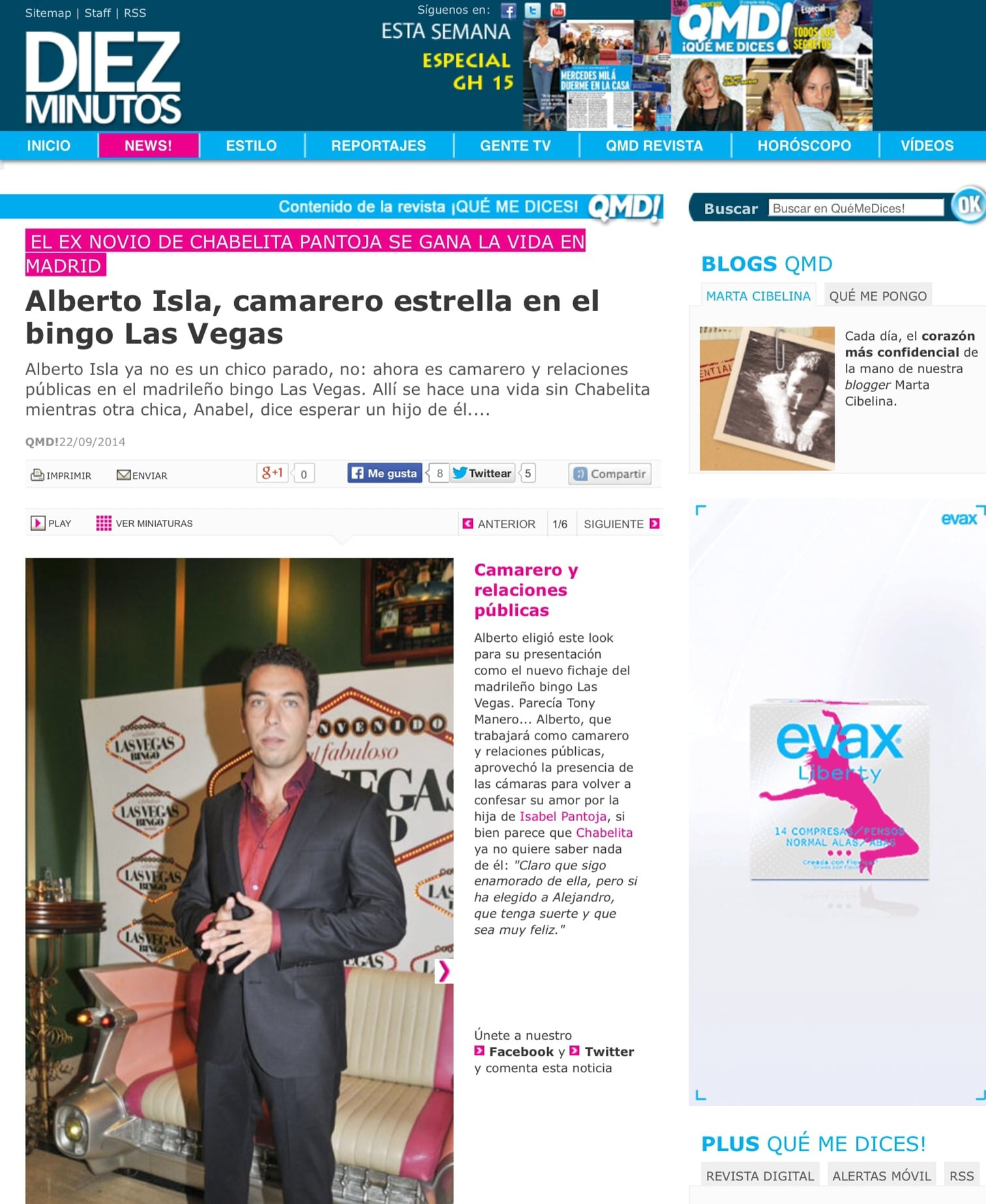 Alberto Isla, camarero estrella en el Bingo Las Vegas