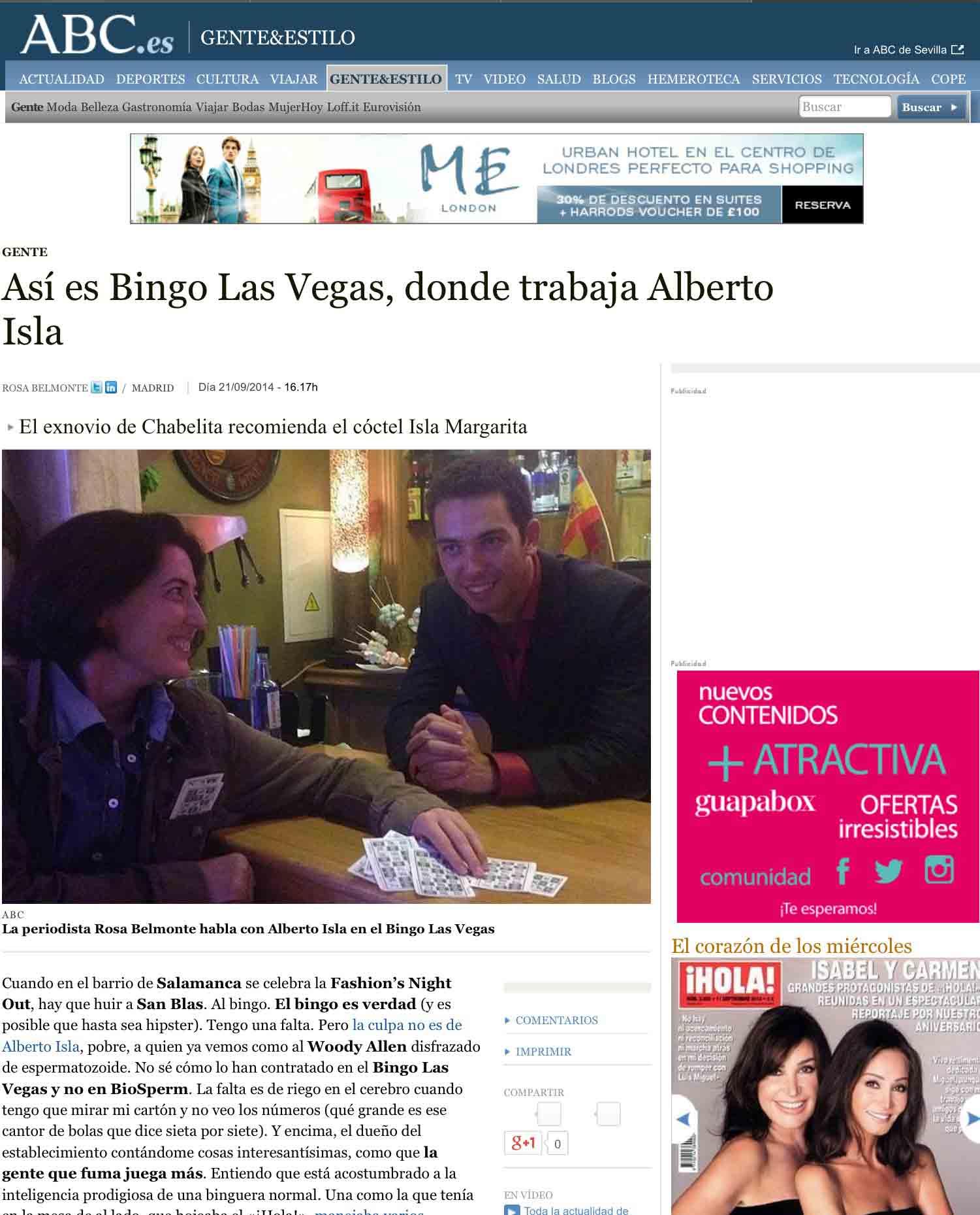 Asi es Bingo Las Vegas donde trabaja Alberto Isla