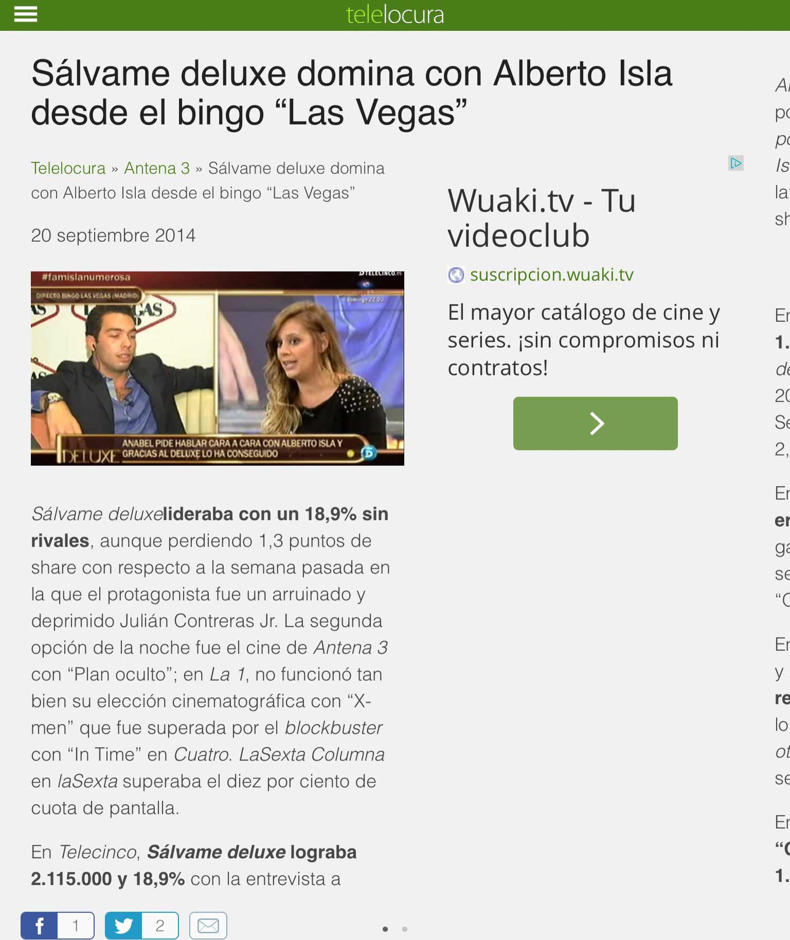 Sálvame Deluxe domina con Alberto Isla desde Bingo Las Vegas